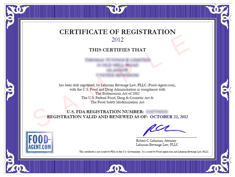 Food Agent Fda Compliance For Worldwide Food Industry